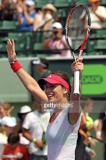 Andrea Petkovic of Germany celebrates after she won match point against Caroline Wozniacki of Denmark during the Sony Ericsson Open at Crandon Park...