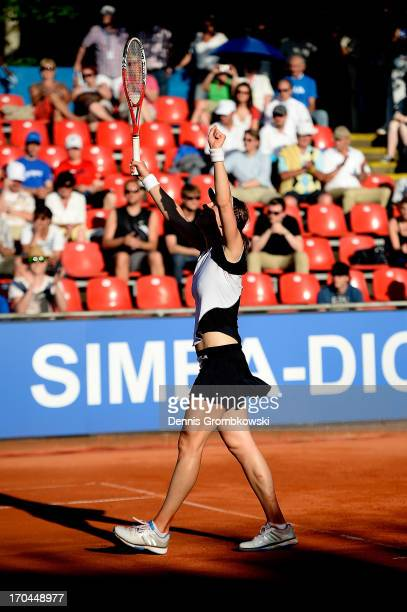 Andrea Petkovic of Germany celebrates after winning her quarterfinal match against Annika Beck of Germany during day six of the Nuernberger Insurance...