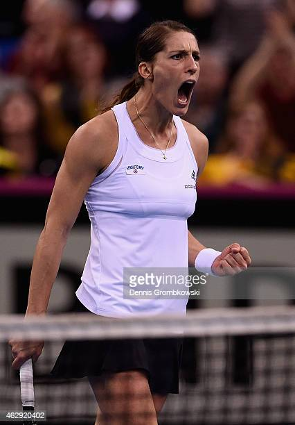 Andrea Petkovic of Germany celebrates during her single match against Samantha Stosur of Australia during the Fed Cup 2015 World Group First Round...