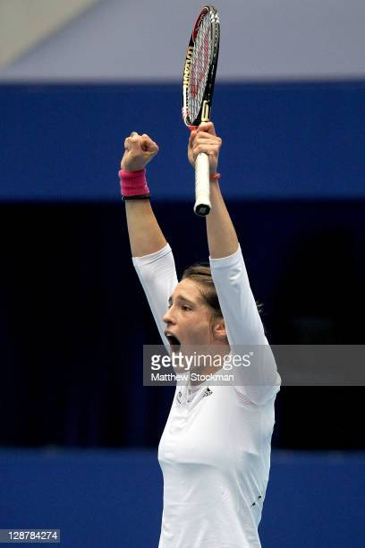 Andrea Petkovic of Germany celebrates match point against Monica Niculescu of Romania during the semifinals of the China Open at the National Tennis...