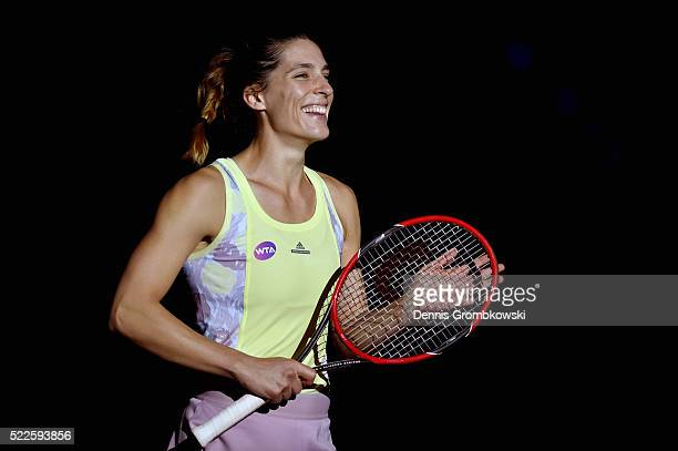 Andrea Petkovic of Germany celebrates match point in her match against Kristina Mladenovic of France during Day 3 of the Porsche Tennis Grand Prix at...