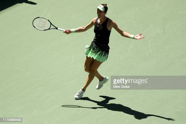 Andrea Petkovic of Germany celebrates victory following her Women's Singles second round match against Petra Kvitova of the Czech Republic on day...