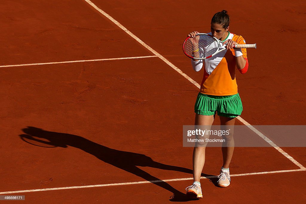 Andrea Petkovic of Germany celebrates victory in her women's singles quarter-final match against Sara Errani of Italy on day eleven of the French Open at Roland Garros on June 4, 2014 in Paris, France.