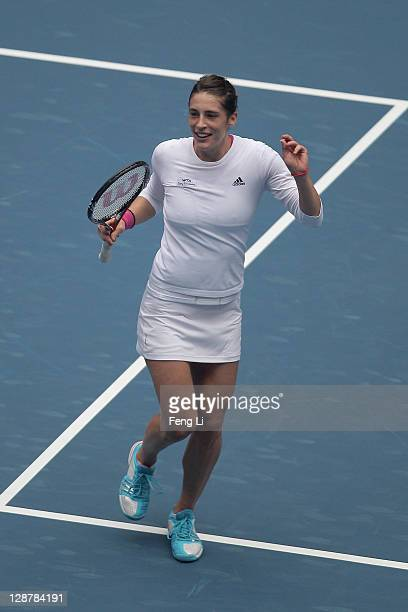 Andrea Petkovic of Germany celebrates winning against Monica Niculescu of Romania during the China Open at the National Tennis Center on October 8...
