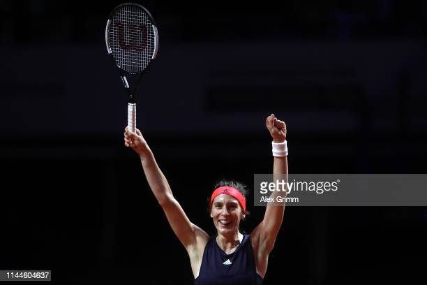 Andrea Petkovic of Germany celebrates winning her first round match against Sara Sorribes Tormo of Spain on day 2 of the Porsche Tennis Grand Prix at...