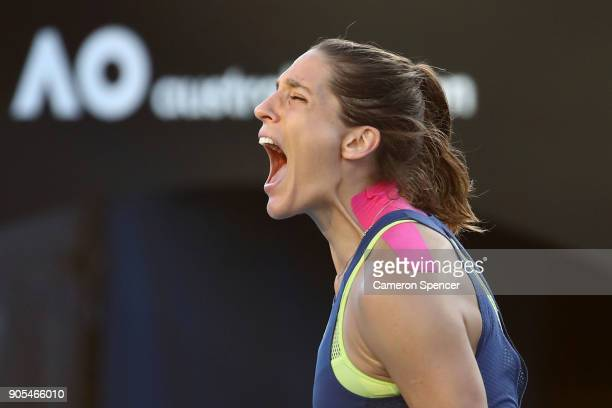 Andrea Petkovic of Germany celebrates winning her first round match against Petra Kvitova of the Czech Republic on day two of the 2018 Australian...