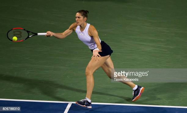 Andrea Petkovic of Germany competes with Julia Goerges of Germany at William HG FitzGerald Tennis Center on August 5 2017 in Washington DC