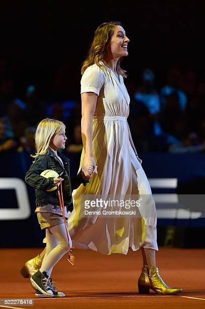 Andrea Petkovic of Germany enters the court for the players presentation during Day 1 of the Porsche Tennis Grand Prix at PorscheArena on April 18...