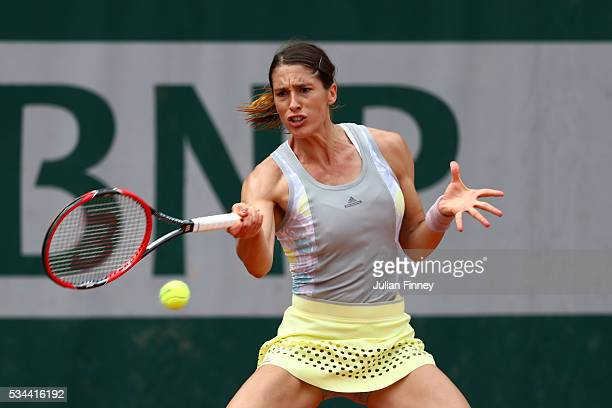 Andrea Petkovic of Germany hits a forehand during the Ladies Singles second round match against Yulia Putintseva of Kazakstan on day five of the 2016...