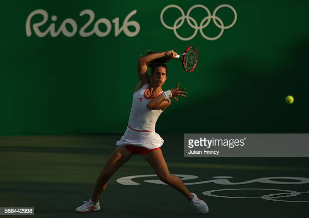 Andrea Petkovic of Germany in action against Elina Svitolina of Ukraine in the women's first round on Day 1 of the Rio 2016 Olympic Games at the...