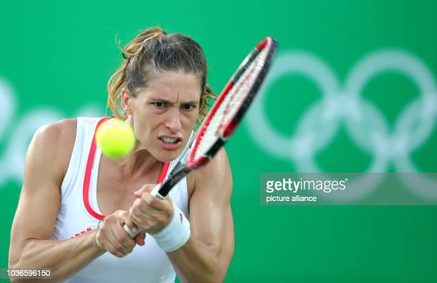Andrea Petkovic of Germany in action against Svitolina of Ukraine during the Tennis Women's Singles First Round match of the Rio 2016 Olympic Games...