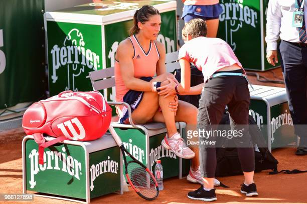 Andrea Petkovic of Germany injures her knee and requires treatment from the physio during Day 7 of the French Open 2018 on June 2 2018 in Paris France