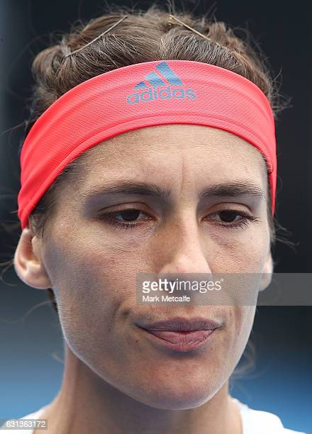 Andrea Petkovic of Germany looks on during her second round match against Veronica Cepede Royg of Paraguay during day one of the 2017 Hobart...