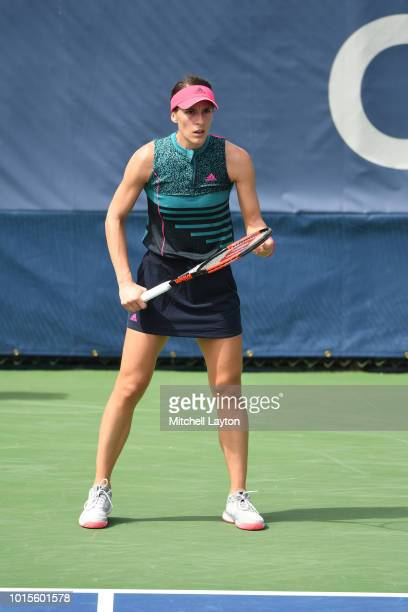 Andrea Petkovic of Germany looks on during match against Belinda Bencic of Switzerland during Day Seven of the Citi Open at the Rock Creek Tennis...