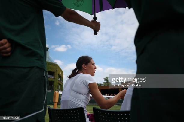 Andrea Petkovic of Germany pictured and Mirjana LucicBaroni of Croatia playing their Ladies' Doubles match against Lucie Hradecka of the Czech...