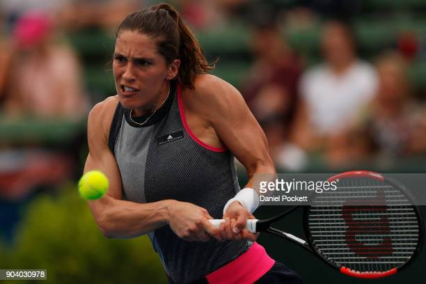 Andrea Petkovic of Germany plays a backhand against Belinda Bencic of Switzerland during day four of the 2018 Kooyong Classic at Kooyong on January...