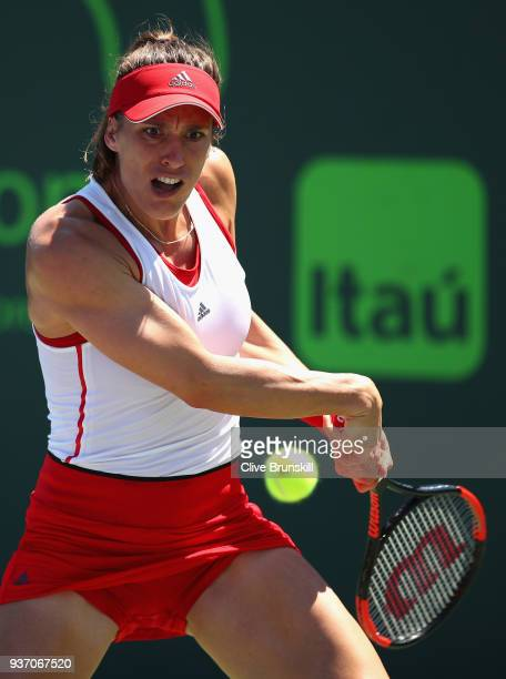 Andrea Petkovic of Germany plays a backhand against Daria Gavrilova of Australia in their second round match during the Miami Open Presented by Itau...