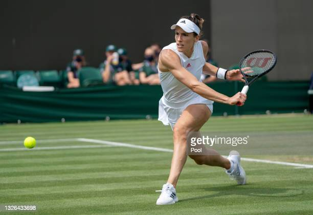 Andrea Petkovic of Germany plays a backhand during her Ladies' Singles Second Round match against Barbora Krejcikova of The Czech Republic during Day...