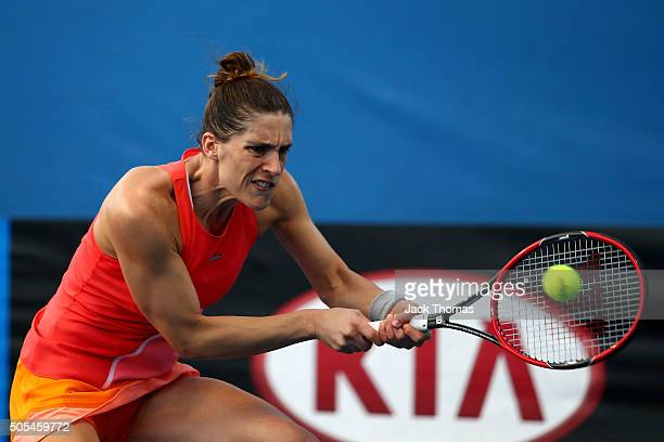 Andrea Petkovic of Germany plays a backhand in her first round match against Elizaveta Kulichkova of Russia during day one of the 2016 Australian...