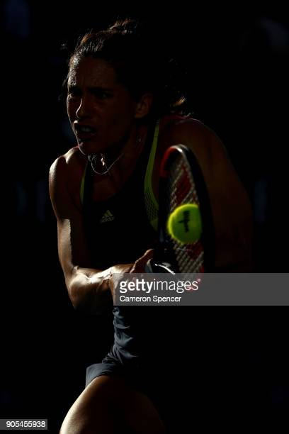 Andrea Petkovic of Germany plays a backhand in her first round match against Petra Kvitova of the Czech Republic on day two of the 2018 Australian...