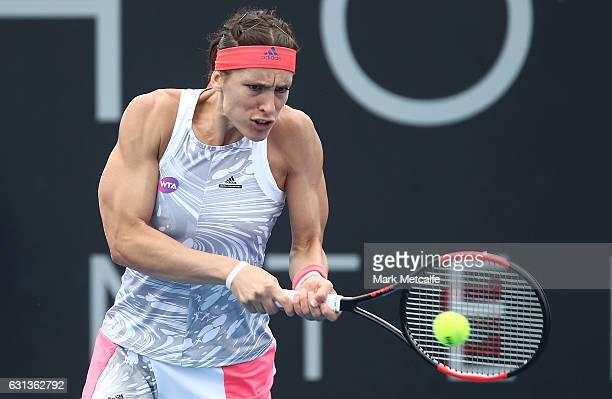 Andrea Petkovic of Germany plays a backhand in her second round match against Veronica Cepede Royg of Paraguay during day one of the 2017 Hobart...