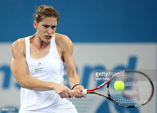 Andrea Petkovic of Germany plays a backhand in her semifinal match against Kim Clijsters of Belgium during day six of the Brisbane International 2010...