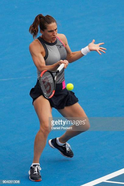 Andrea Petkovic of Germany plays a forehand against Belinda Bencic of Switzerland during day four of the 2018 Kooyong Classic at Kooyong on January...