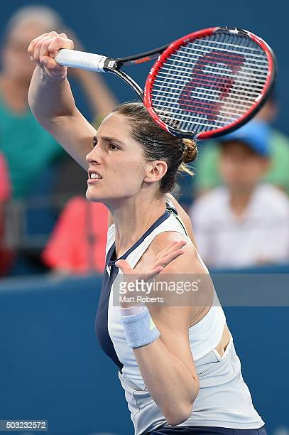 Andrea Petkovic of Germany plays a forehand against Teliana Pereira of Brazil during day one of the 2016 Brisbane International at Pat Rafter Arena...