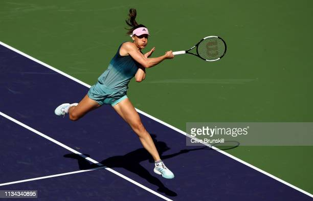 Andrea Petkovic of Germany plays a forehand against Venus Williams of the United States during their womens singles first round match on day four of...