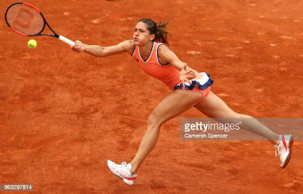Andrea Petkovic of Germany plays a forehand during the ladies singles first round match against Kristina Mladenovic of France during day two of the...