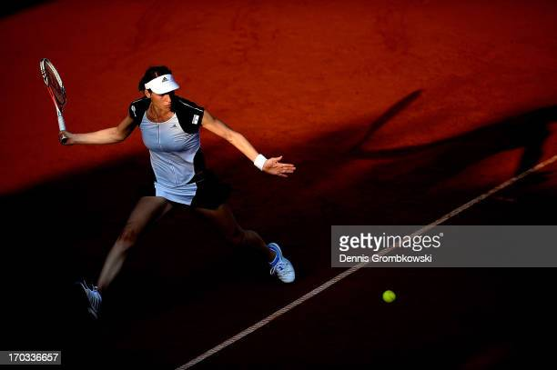Andrea Petkovic of Germany plays a forehand in her first round match against Sofia Arvidsson of Sweden during day four of the Nuernberger Insurance...