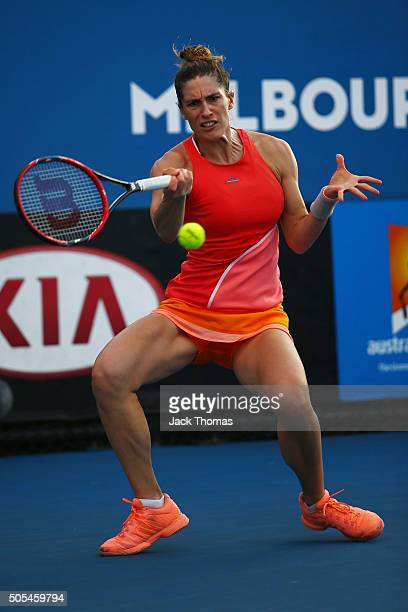 Andrea Petkovic of Germany plays a forehand in her first round match against Elizaveta Kulichkova of Russia during day one of the 2016 Australian...