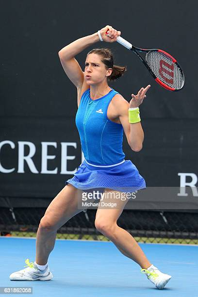 Andrea Petkovic of Germany plays a forehand in her first round match against Kayla Day of the United States on day two of the 2017 Australian Open at...