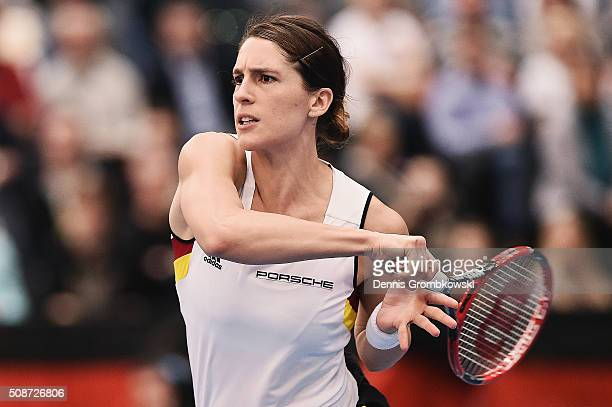 Andrea Petkovic of Germany plays a forehand in her match against Belinda Bencic of Switzerland during Day 1 of the 2016 Fed Cup World Group First...