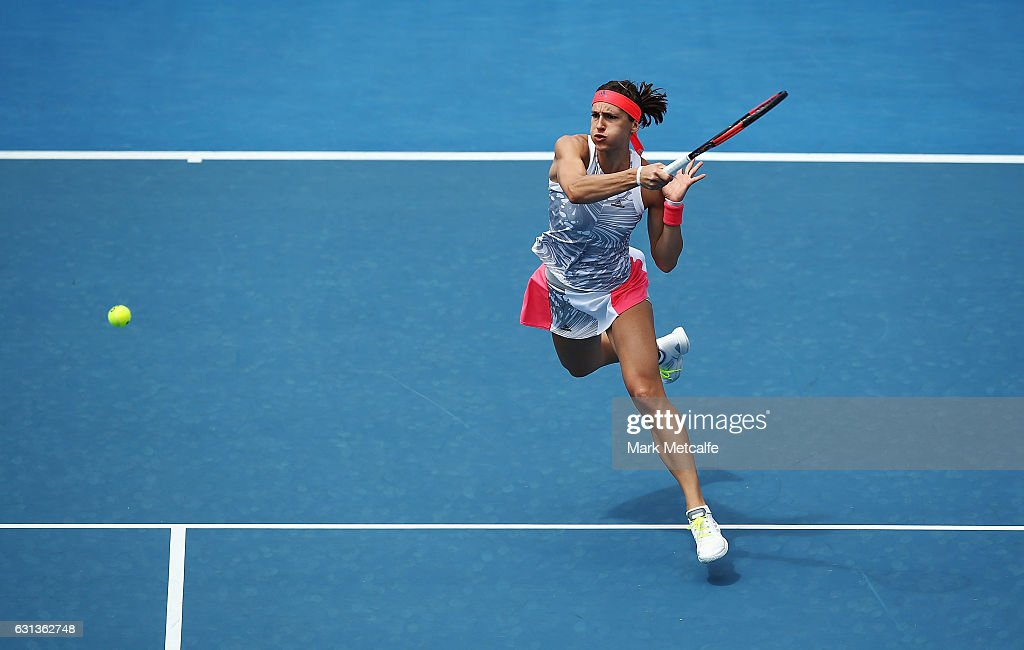 Andrea Petkovic of Germany plays a forehand in her second round match against Veronica Cepede Royg of Paraguay during day one of the 2017 Hobart International at Domain Tennis Centre on January 10, 2017 in Hobart, Australia.