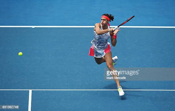 Andrea Petkovic of Germany plays a forehand in her second round match against Veronica Cepede Royg of Paraguay during day one of the 2017 Hobart...