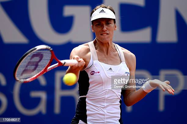 Andrea Petkovic of Germany plays a forehand in her semifinal match against Jelena Jankovic of Serbia during day seven of the Nuernberger Insurance...