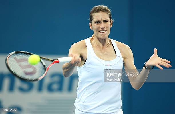 Andrea Petkovic of Germany plays a forehand in her semifinal match against Kim Clijsters of Belgium during day six of the Brisbane International 2010...