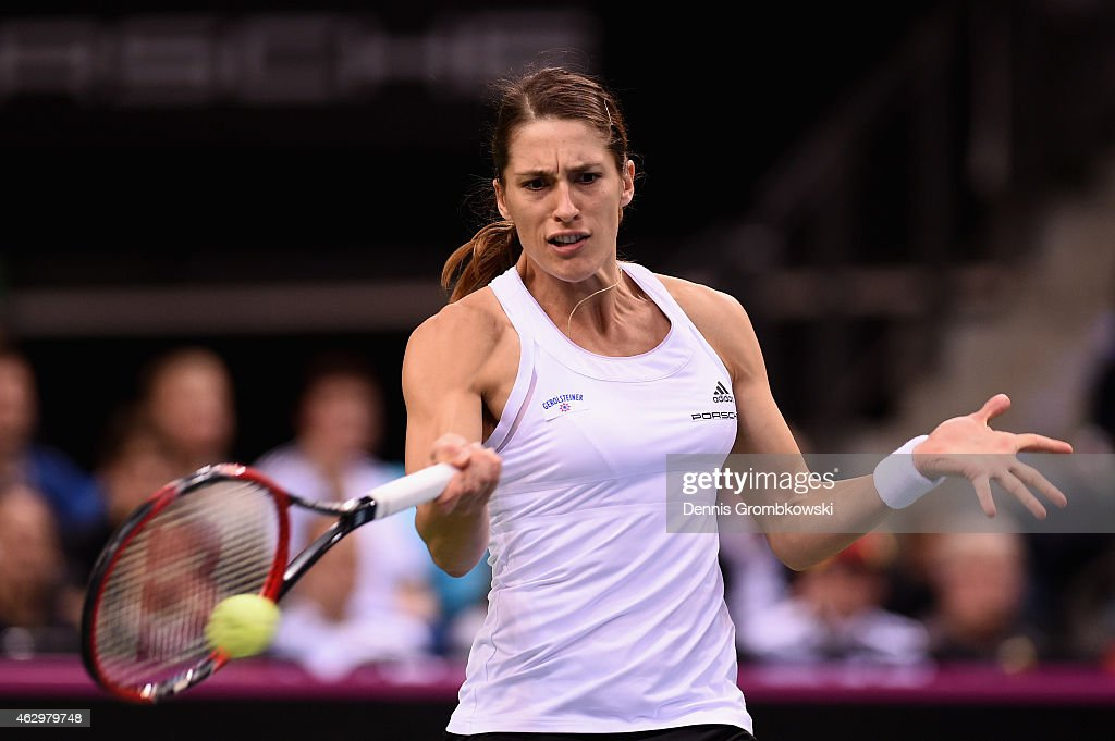 Andrea Petkovic of Germany plays a forehand in her single match against Jarmila Gajdosova of Australia during the Fed Cup 2015 World Group First Round tennis between Germany and Australia at Porsche-Arena on February 8, 2015 in Stuttgart, Germany.