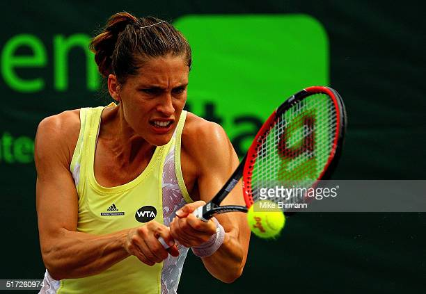 Andrea Petkovic of Germany plays a match against Caroline Garcia of France during Day 4 of the Miami Open presented by Itau at Crandon Park Tennis...