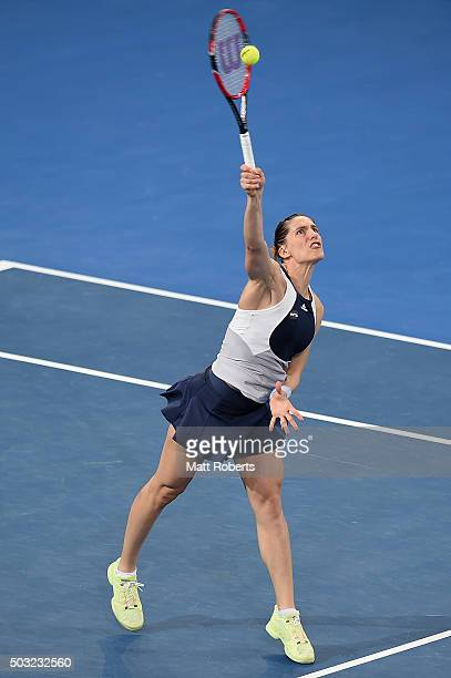 Andrea Petkovic of Germany plays a overhead against Teliana Pereira of Brazil during day one of the 2016 Brisbane International at Pat Rafter Arena...