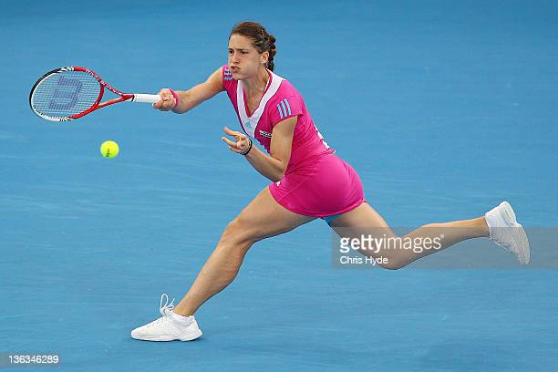 Andrea Petkovic of Germany plays a shot against Barbora Strycova of the Czech Republic during day three of the 2012 Brisbane International at Pat...