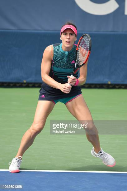 Andrea Petkovic of Germany prepares for a shot from Belinda Bencic of Switzerland during Day Seven of the Citi Open at the Rock Creek Tennis Center...
