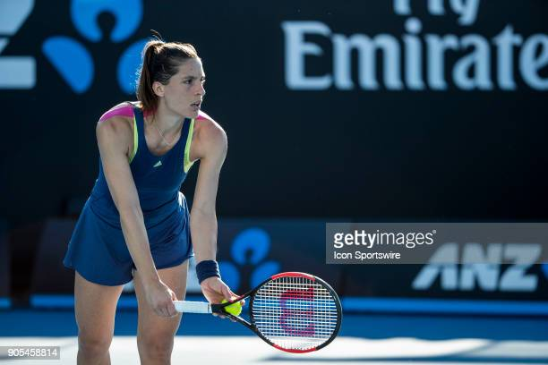 Andrea Petkovic of Germany prepares to serve in her first round match during the 2018 Australian Open on January 16 at Melbourne Park Tennis Centre...