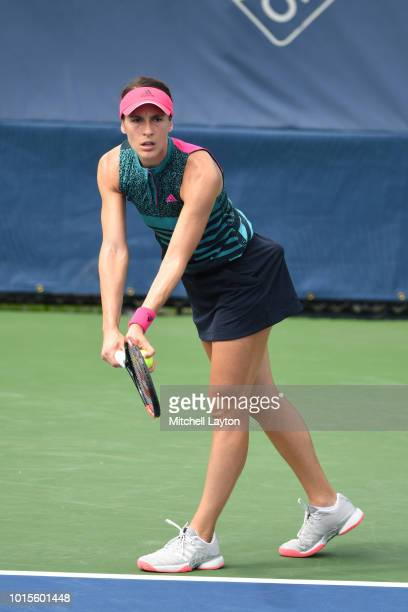 Andrea Petkovic of Germany prepares to serve to Belinda Bencic of Switzerland during Day Seven of the Citi Open at the Rock Creek Tennis Center on...