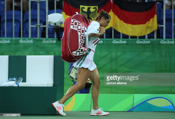 Andrea Petkovic of Germany reacts after losing against Svitolina of Ukraine during the Tennis Women's Singles First Round match of the Rio 2016...