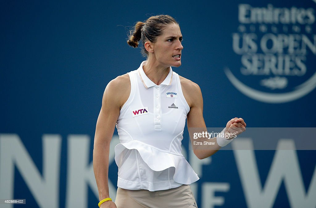 Andrea Petkovic of Germany reacts after winning the first set of her match against Ajla Tomljanovic of Crotia during Day 1 of the Bank of the West Classic at the Taube Family Tennis Stadium on July 28, 2014 in Stanford, California.