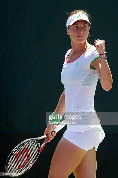 Andrea Petkovic of Germany reacts against Jamie Hampton during the Sony Ericsson Open at Crandon Park Tennis Center on March 24 2011 in Key Biscayne...