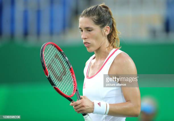 Andrea Petkovic of Germany reacts against Svitolina of Ukraine during the Tennis Women's Singles First Round match of the Rio 2016 Olympic Games at...