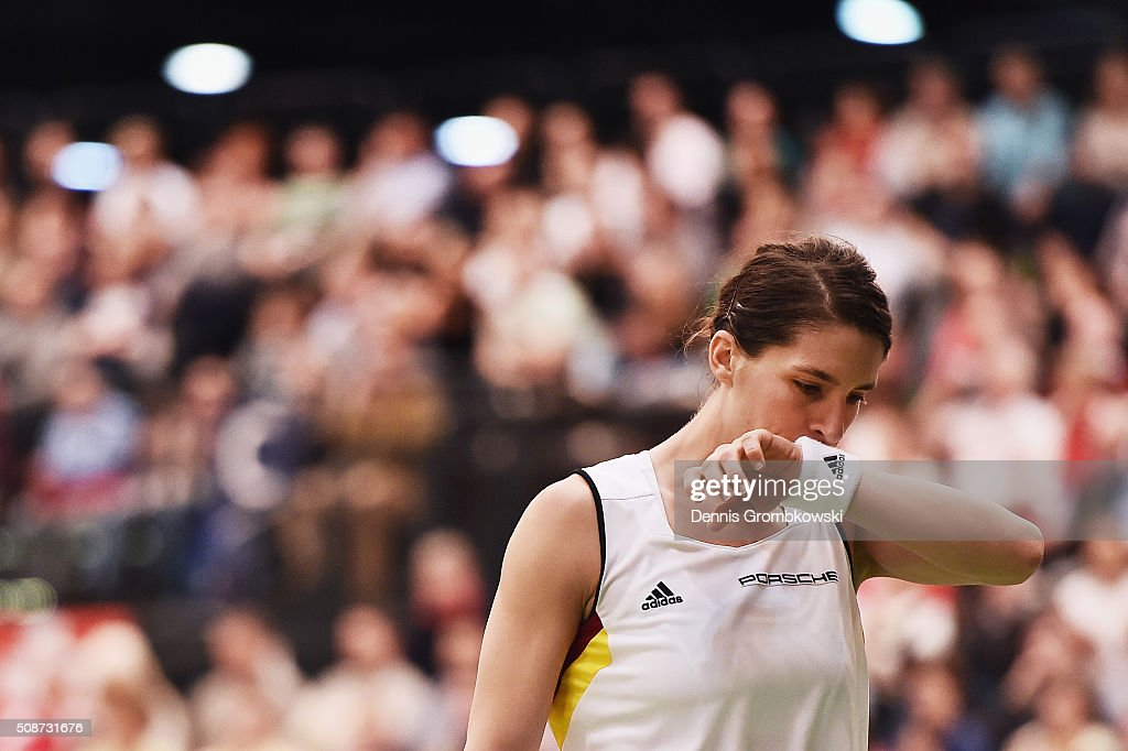Andrea Petkovic of Germany reacts during her match against Belinda Bencic of Switzerland during Day 1 of the 2016 Fed Cup World Group First Round match between Germany and Switzerland at Messe Leipzig on February 6, 2016 in Leipzig, Germany.